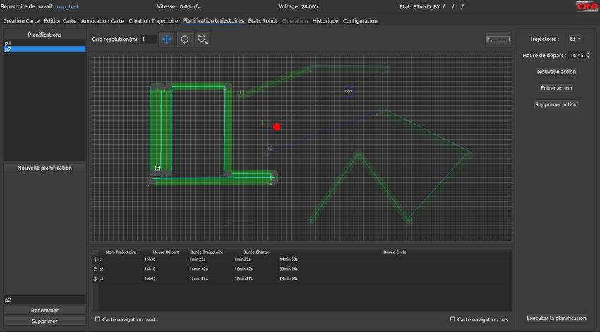 Interface de pilotage du robot autonome Aspi Concept